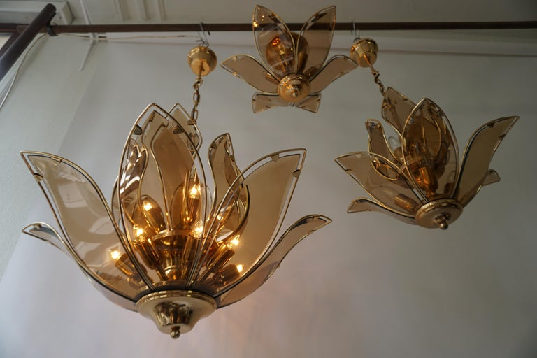 Italian Set of Three Midcentury Chandeliers in Brass and Glass For Sale