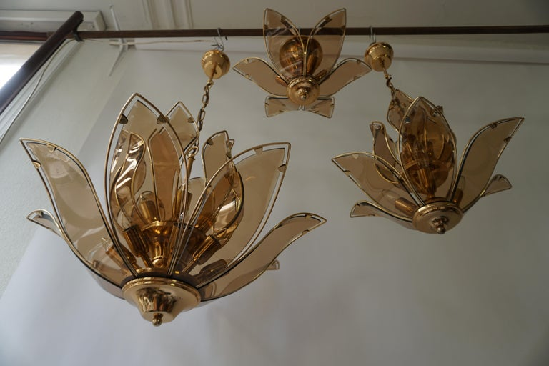 Set of Three Midcentury Chandeliers in Brass and Glass In Good Condition For Sale In Antwerp, BE