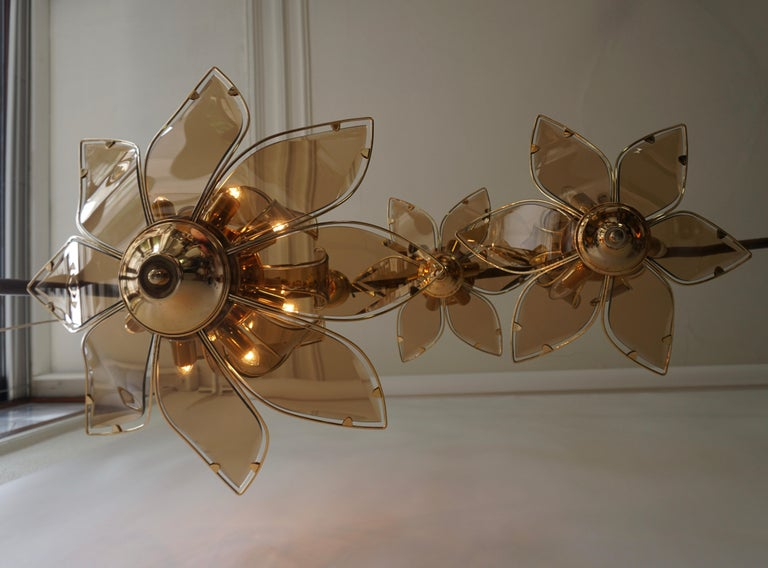 20th Century Set of Three Midcentury Chandeliers in Brass and Glass For Sale