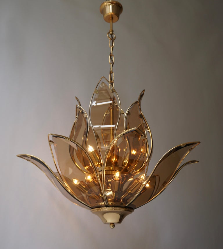 Set of Three Midcentury Chandeliers in Brass and Glass For Sale 1
