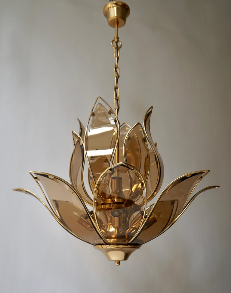 Set of Three Midcentury Chandeliers in Brass and Glass For Sale 2