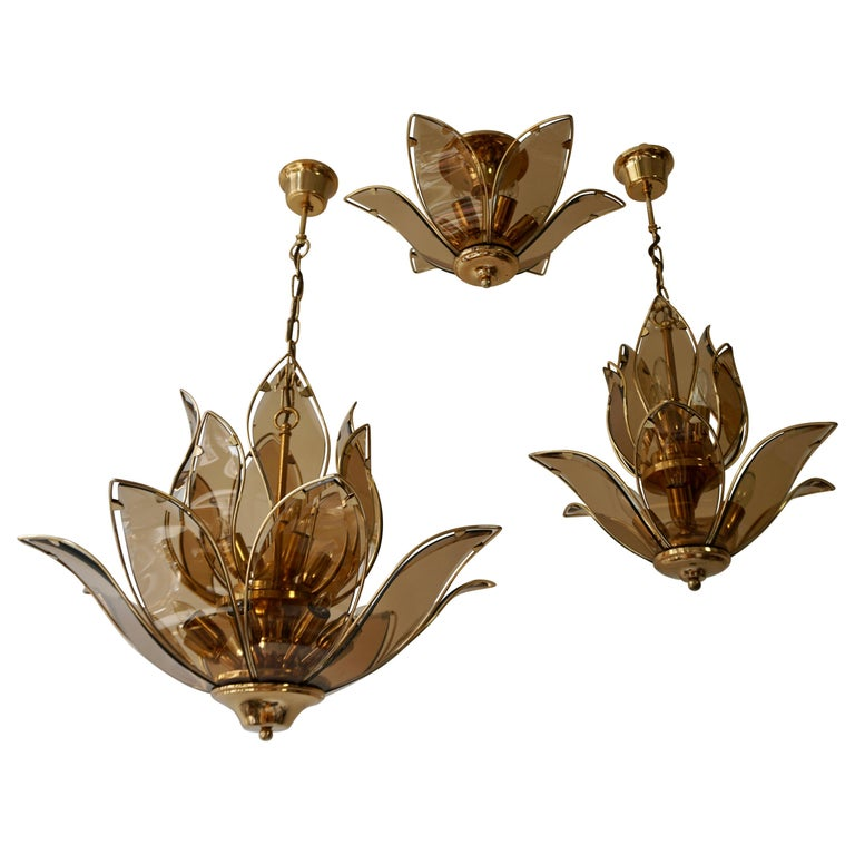 Set of Three Midcentury Chandeliers in Brass and Glass For Sale