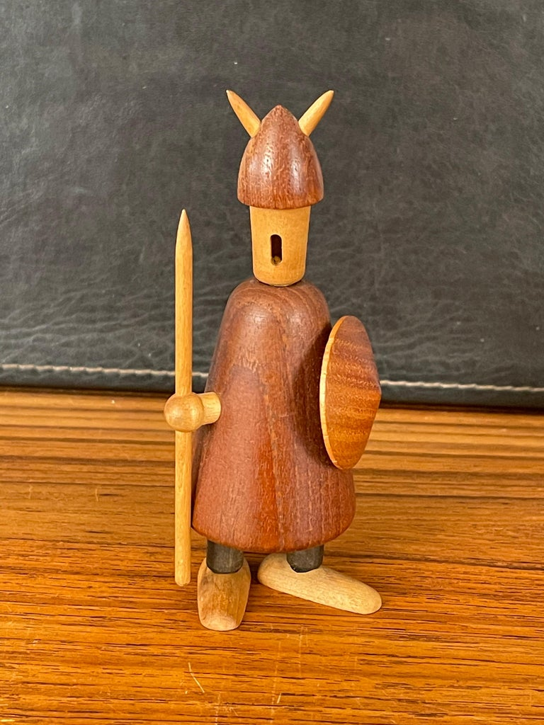 Teak Set of Three Midcentury Danish Vikings Figures by Jacob Jensen For Sale