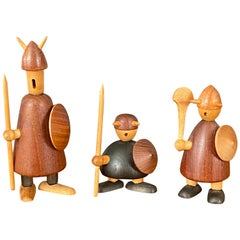 Set of Three Midcentury Danish Vikings Figures by Jacob Jensen