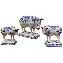 Set of Three Midcentury Dutch Hand Painted Porcelain Delft Cows