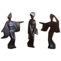 Set of Three Midcentury Japanese Geisha Figurines