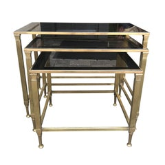 Set of Three Mid-20th Century French Maison Bagues Brass Nesting Tables