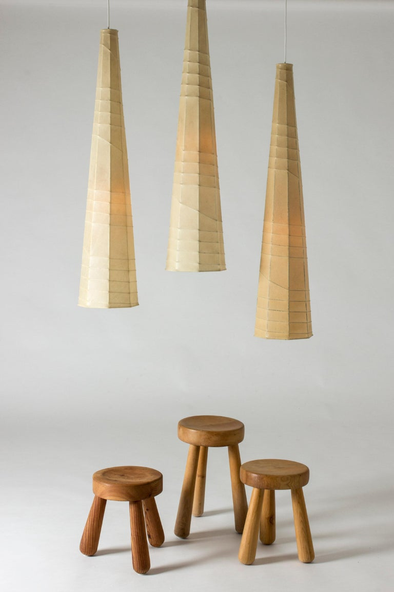 Set of Three Midcentury Metal and Resin Ceiling Lights by Hans Bergström For Sale 4