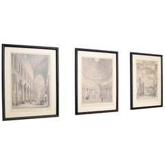 Set of Three Midcentury Modern Italian Column Architecture Etchings Framed 1960s