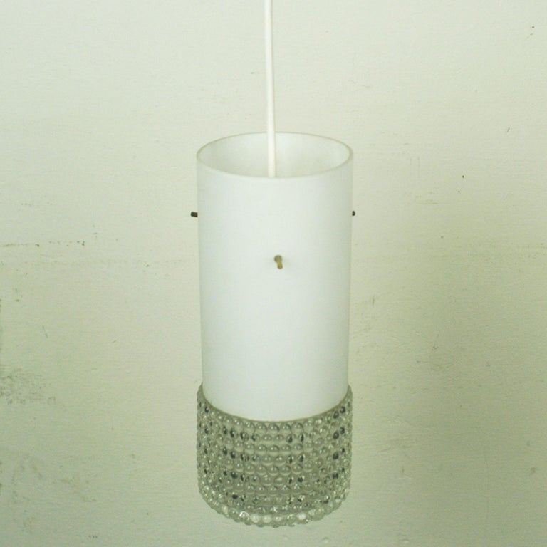 Set of Three Mid-Century Modern White Glass Pendant Lamps Attr. Staff Germany For Sale 1