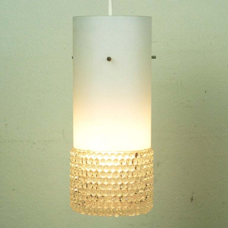 Set of Three Mid-Century Modern White Glass Pendant Lamps Attr. Staff Germany For Sale 2
