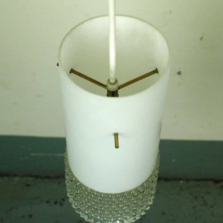 Set of Three Mid-Century Modern White Glass Pendant Lamps Attr. Staff Germany For Sale 3