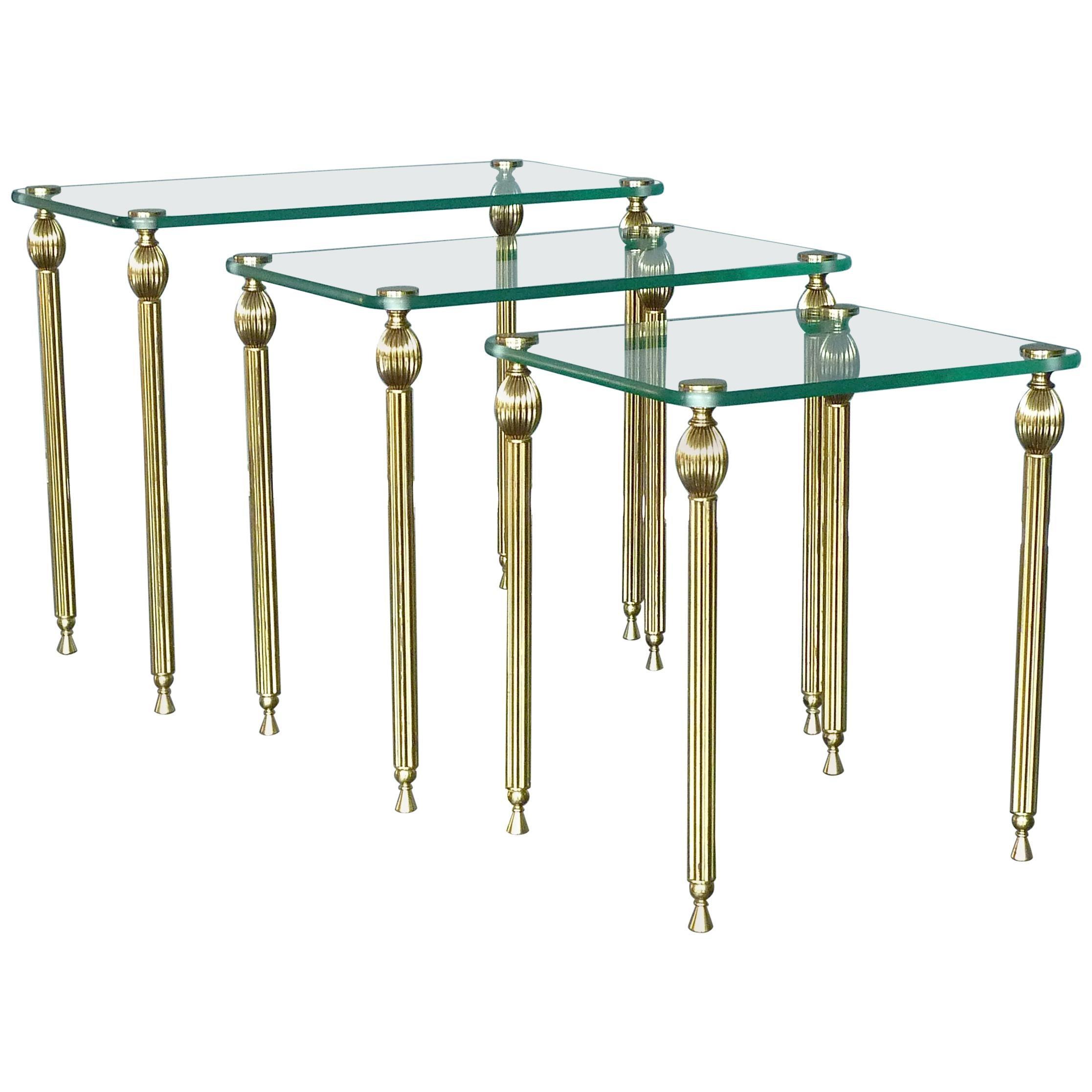 Set of Three Midcentury Nesting Side Tables Brass Glass Maison Baguès Jansen