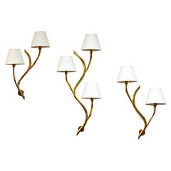 Set of Three Midcentury Norwegian Branch Brass Wall Lamps from Astra, 1950s