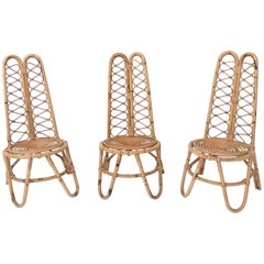 Set of Three Midcentury Wicker Chairs, Italy, 1950s