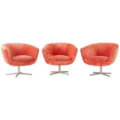 Set of Three Milo Baughman Style Swivel Lounge Chairs