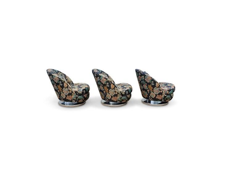 Mid-Century Modern Set of Three Milo Baughman Tilt & Swivel Lounge Chairs Chrome Bases For Sale