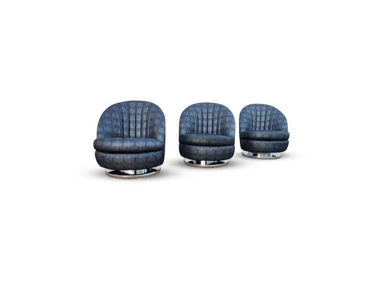 American Set of Three Milo Baughman Tilt and Swivel Lounge Chairs Chrome Bases   For Sale