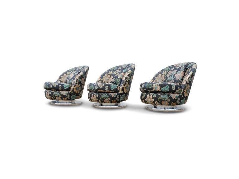 Fabric Set of Three Milo Baughman Tilt & Swivel Lounge Chairs Chrome Bases For Sale