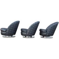 Set of Three Milo Baughman Tilt and Swivel Lounge Chairs Chrome Bases