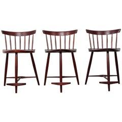 Set of Three Mira Barstools by George Nakashima
