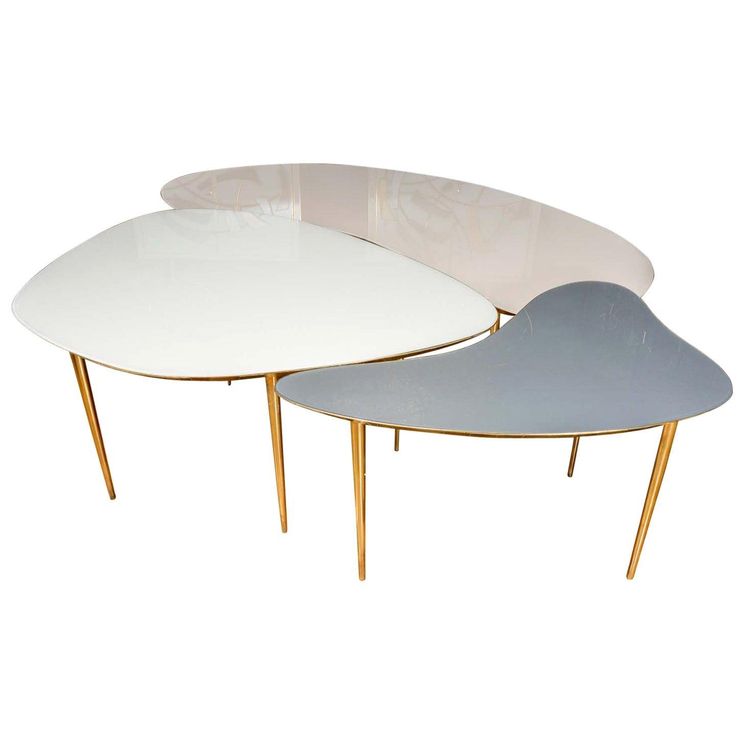 Set of Three Mirror Top Tables