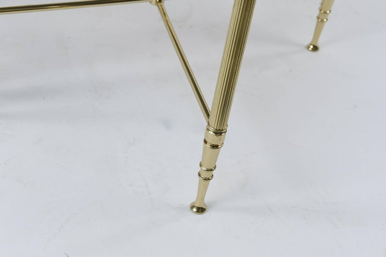 Mid-Century Modern Set of Three Mirrored Top Brass Nesting Tables For Sale
