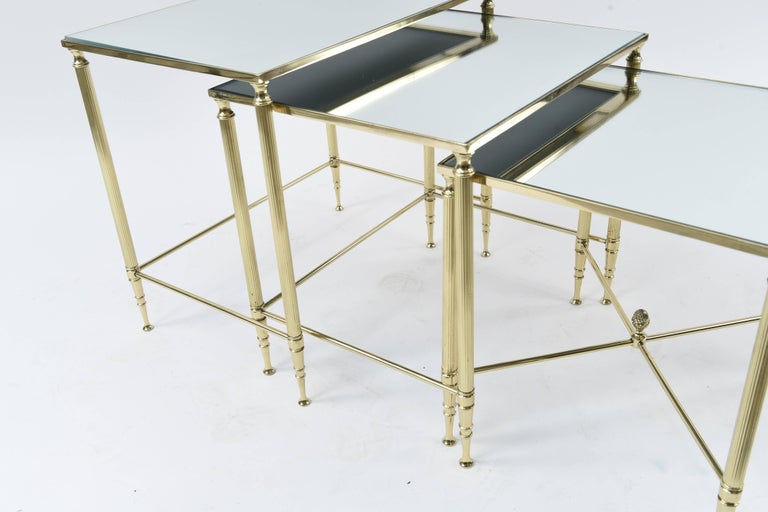 American Set of Three Mirrored Top Brass Nesting Tables For Sale