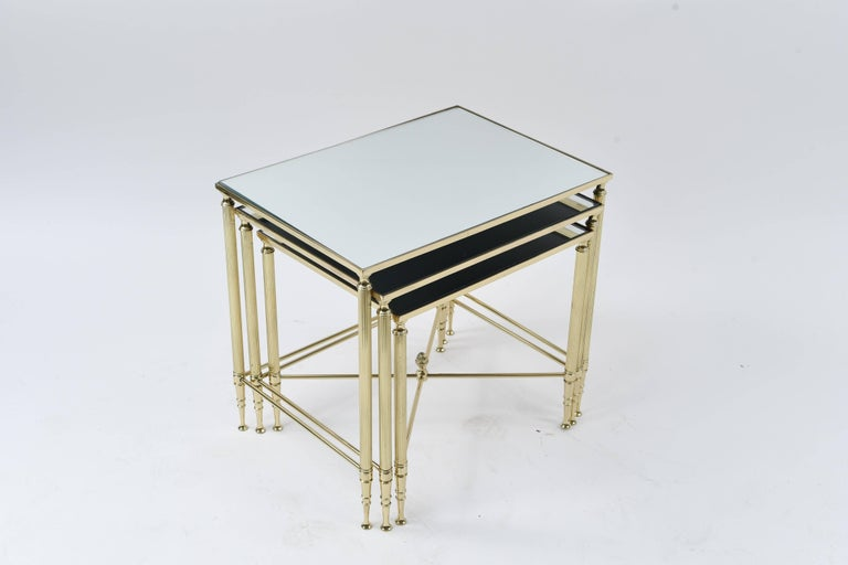 Set of Three Mirrored Top Brass Nesting Tables For Sale 1