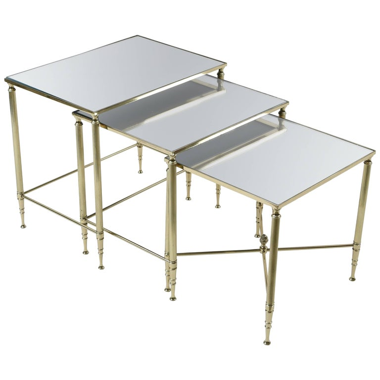 Set of Three Mirrored Top Brass Nesting Tables For Sale