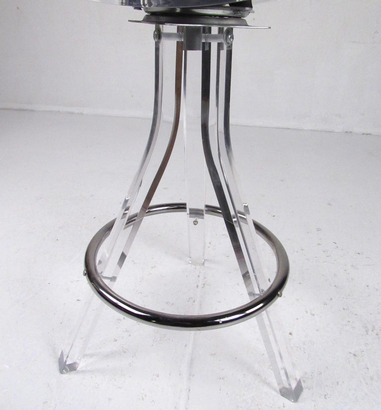 Set of Three Modern Lucite Swivel Bar Stools For Sale 8
