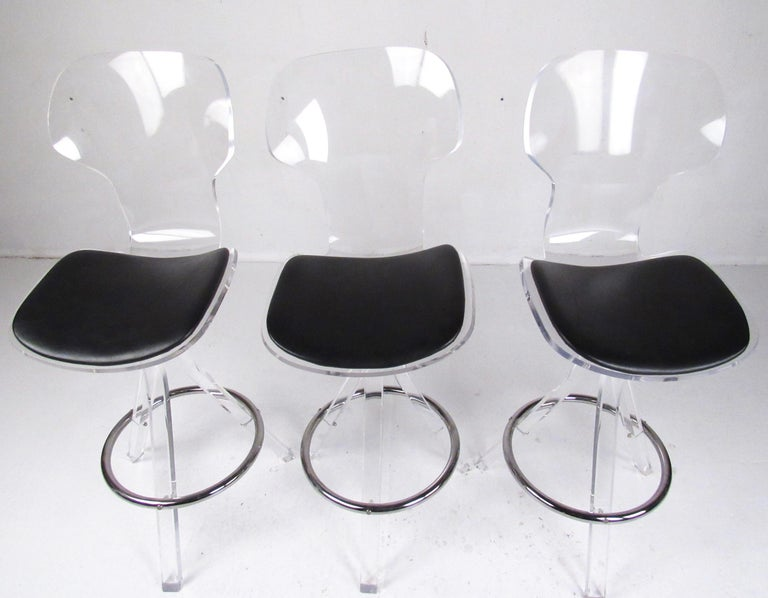 Acrylic Set of Three Modern Lucite Swivel Bar Stools For Sale