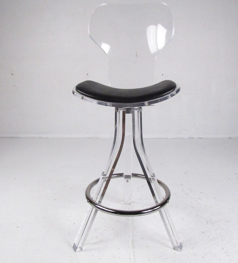 Set of Three Modern Lucite Swivel Bar Stools For Sale 2