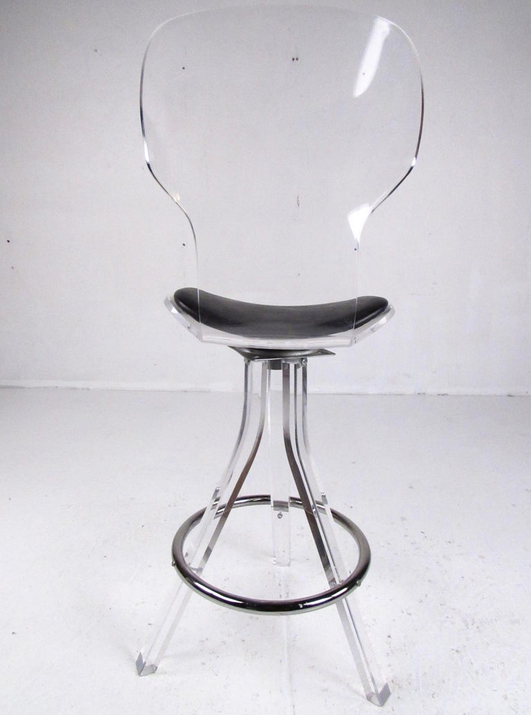 Set of Three Modern Lucite Swivel Bar Stools For Sale 3