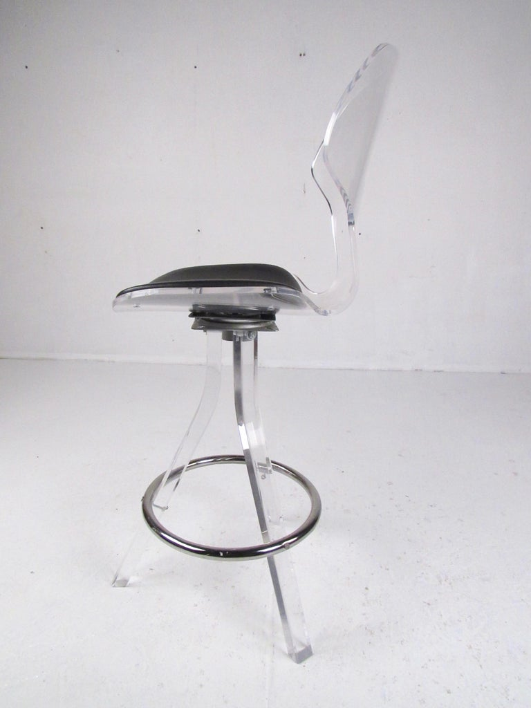 Set of Three Modern Lucite Swivel Bar Stools For Sale 4