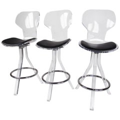 Set of Three Modern Lucite Swivel Bar Stools