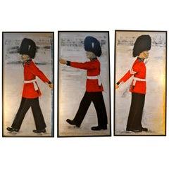 """Set of Three Modern  """"Queen's Guard"""" Series Oil Paintings by Jane Adams"""