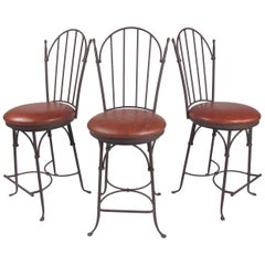 Set of Three Modern Swivel Counter Stools