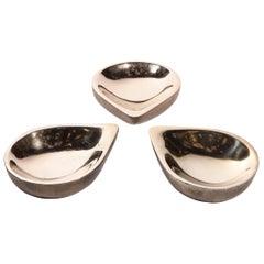 Set of Three Modernist Bronze Teardrop Form Bowls by Steven Haulenbeek