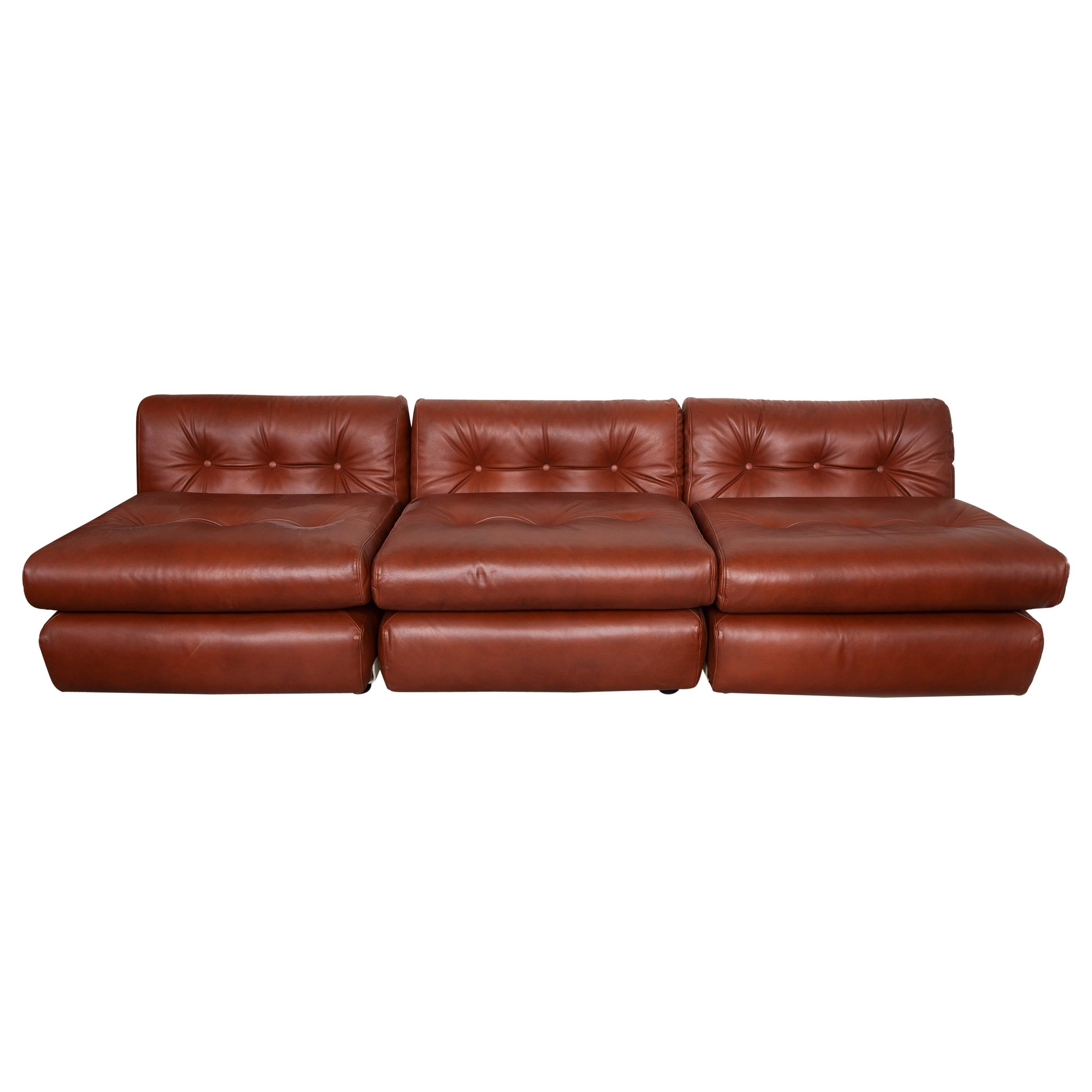 """Set of Three Modular Brown Leather """"Amanta"""" Lounge Chairs by Mario Bellini Italy"""
