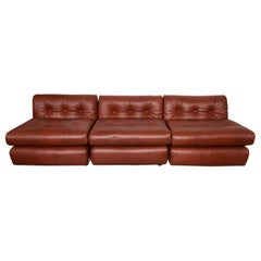 "Set of Three Modular Brown Leather ""Amanta"" Lounge Chairs by Mario Bellini Italy"