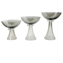 Set of Three Murano Glass Modernist Bowls or Vases in Handblown Smoked Glass