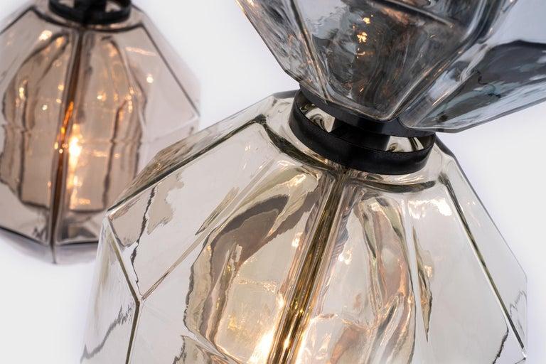 Brass Set of three Murano Glass Pendants by Vinicio Vianello for Vistosi, Italy, 1957 For Sale