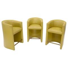 Set of Three Mustard Leather Barrel Back Brass Foot Step Stretcher Bar Stools