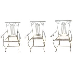 Set of Three Neoclassical Wrought Iron Garden Chairs sold individually
