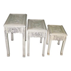Set of Three Nesting Figural Carved Elmwood Chinese Tables White / Red Colours