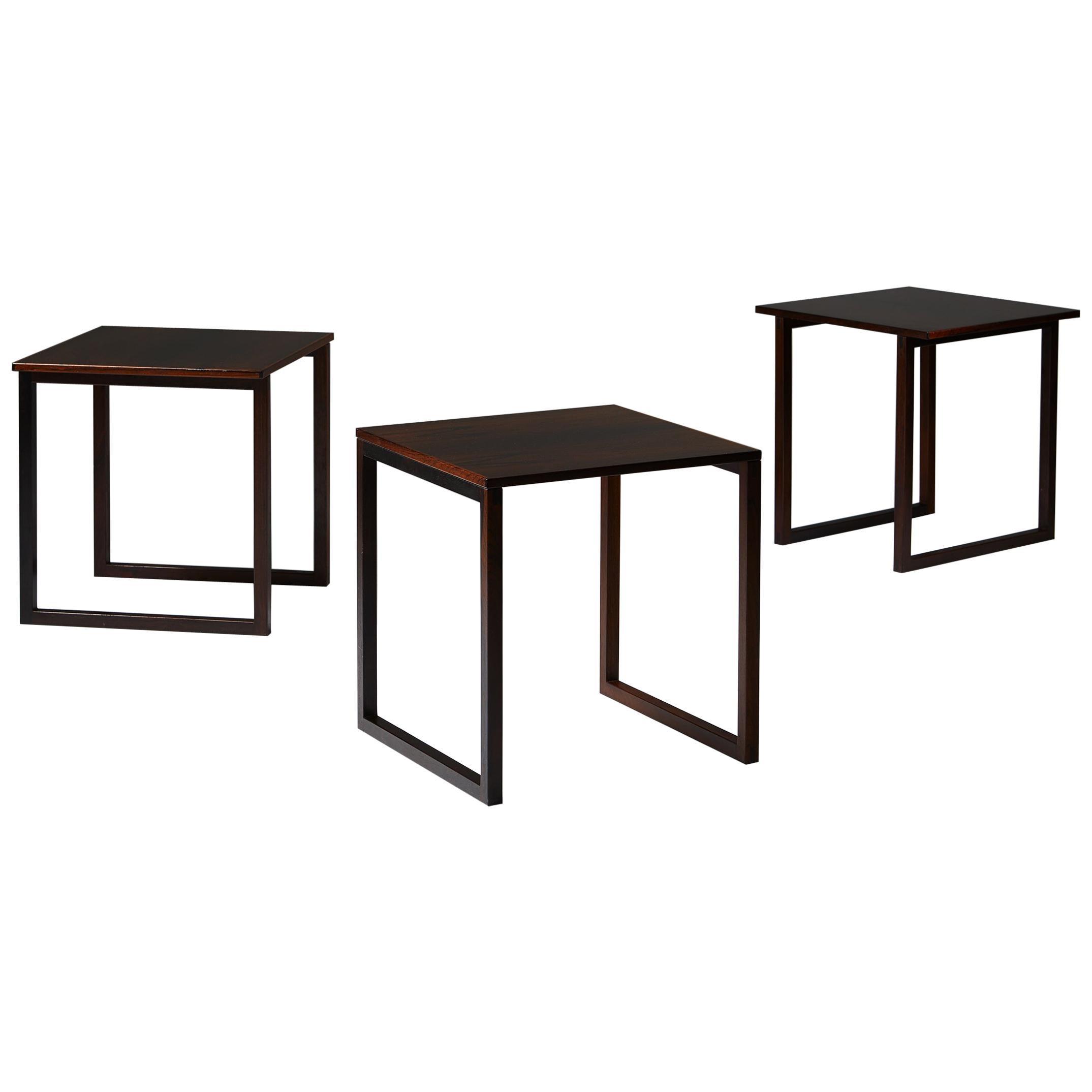 Set of Three Nesting Tables, Anonymous, Denmark, 1950s