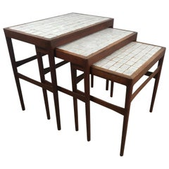Set of Three Nesting Tables by Knud Mortensen Pour Soren Horn, Stunning Tile Top