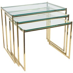 Set of Three Nesting Tables in Brass and Glass, Italy, 1970s Mid-Century Modern
