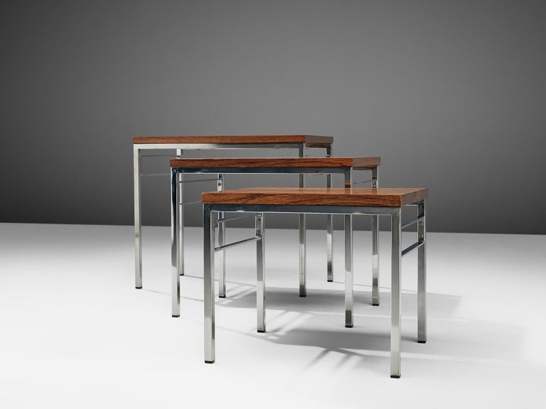 Rosewood Set of Three Nesting Tables in Chrome and Wood For Sale